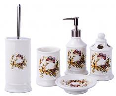 GMMH Landhaus Vintage BadSet Schmetterlinge Badezimmer Zubehör Set Seifenspender WC Bürste Keramik (5 er Set)