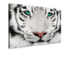LANA KK - Leinwandbild King Tiere & Natur auf Echtholz-Keilrahmen – Fotoleinwand-Kunstdruck in weiß