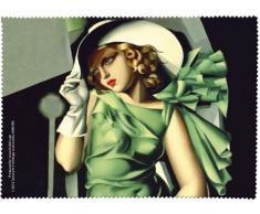 Fridolin 18841Lempicka Junge Dame mit Handschuhen Reinigungstuch für Brille Chiffon Mehrfarbig 18x 12,5x 1cm