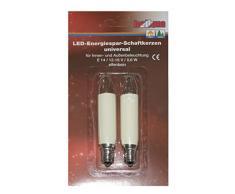 HELLUM 904949 2er-Pack Ersatz-LED-Schaftkerze universal für 15- bis 20-teilige Lichterketten, 12-16 V, 0,6 W, E 14, warm-weiß elfenbein