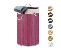 Relaxdays, violett Wäschekorb, Faltbare Wäschetonne mit Deckel, Volumen 70 l, Wäschesack Baumwolle, rund Ø 41 cm