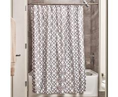 iDesign Trellis Textil Duschvorhang | Duschabtrennung für Badewanne und Duschwanne mit Spalier-Motiv | 183 cm x 183 cm Vorhang aus Stoff | Polyester grau
