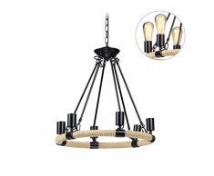 Relaxdays Retro Kronleuchter, 6-flammige Industrielampe, Metall, E27, Seil Hängelampe industrial, 158 x 52 cm, schwarz