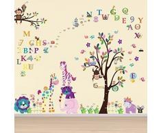 WALPLUS - Com Wandaufkleber Papier Kunst Dekoration Niedliche Tiere Alphabet Zahlen Kinderzimmer Aufkleber