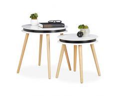 Relaxdays 2er Set Beistelltisch, Holzbeine, 5 cm Dicke Tischplatte rund, Satztische, Wohnzimmer, 40 & 48cm Ø, weiß/Natur, 48.5 x 48 x 48 cm