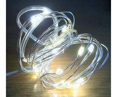 Festive Productions Lichterkette mit 20 LEDs, Silberdraht, Blau warmweiß