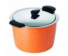 KUHN RIKON 30703 Thermokochgeschirr HOTPAN Kochtopf mit Deckel, orange, 5 Liter, 22 cm, dampfgaren, warmhalten, induktionsgeeignet, spülmaschinengeeignet, Edelstahl