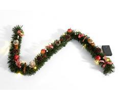 Heitmann Deco dekorierte Weihnachtsgirlande mit Ãpfeln; Zimt; Zapfen und Schleifen - mit LED-Beleuchtung - grün; rot; weià - für innen