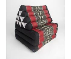 Leewadee Thaikissen/Thaimatte mit Dreieckskissen - faltbar - 3 Auflagen - 170x53cm (schwarz, rot)