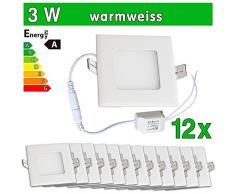 LEDVero 12x Ultraslim LED Panel SMD 2835, 3 W, eckig Deckenleuchte Lampe Einbau Leuchte Licht Strahler, warmweiß SP144