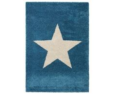 benuta 4053894223037 Teppiche Shaggy Langflor Hochflor Teppich Graphic Star - gut-Siegel - 100% Polypropylen - Sterne - Maschinengewebt - Wohnzimmer Teppich, Kunstfaser, Blau, 80 x 150 x 2 cm