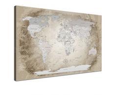 LanaKK - Weltkarte Leinwandbild mit Korkrückwand zum pinnen der Reiseziele - Worldmap Beige - deutsch - Kunstdruck-Pinnwand in braun, einteilig & fertig gerahmt in 120 x 80 cm