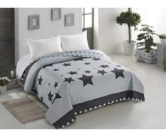 AmeliaHome Starlight Tagesdecke, Polyester, grau, 260 x 280