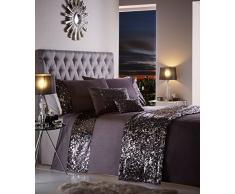 Dazzle Glamorous Pailletten-Bettwäsche-Set, 100 % Polyester, anthrazit, Doppelbett