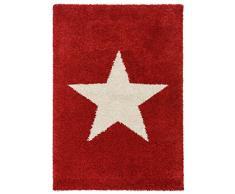 benuta Shaggy Hochflor Teppich Graphic Star Rot 80x150 cm | Langflor Teppich für Schlafzimmer und Wohnzimmer