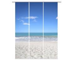 Home fashion 88767-106 blau SEA Digitaldruck Schiebevorhang 3-er Set, Stoff, blau, 245 x 60 x 245 cm