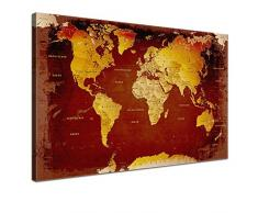LANA KK - Leinwandbild Weltkarte Nostalgie Weltkarte - deutsch - Kunstdruck-Pinnwand auf Echtholz-Keilrahmen – Globus in braun, einteilig & fertig gerahmt in 120 x 80 cm