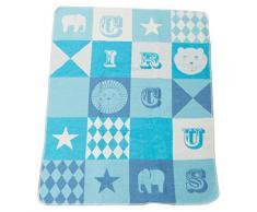 David Fussenegger 67322079 Juwel Baby- und Kinderdecke Zirkus, Baumwoll-Mischgewebe, blau, 90 x 70 x 90 cm