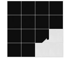 FoLIESEN Fliesenaufkleber für Bad und Küche - 15x15 cm - schwarz matt - 200 Fliesensticker für Wandfliesen