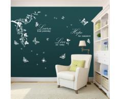 Walplus Schmetterlinge Wein Leran Live Hope Zitat Weißer Wand Aufkleber Papier Mauerkunst Sticker Dekoration Wohnzimmer