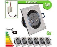 LEDVero 6x LED Einbaustrahler Einbauleuchte 3 W 6-er Set quadratisch, kaltweiss EBL12