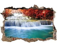 Pixxprint 3D_WD_1618_92x62 Kleiner Wasserfall Wanddurchbruch 3D Wandtattoo, Vinyl, bunt, 92 x 62 x 0,02 cm