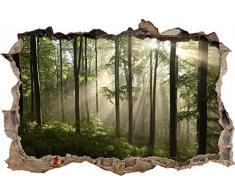 Pixxprint 3D_WD_S2415_92x62 atemberaubender Wald mit Sonnenstrahlen Wanddurchbruch 3D Wandtattoo, Vinyl, bunt, 92 x 62 x 0,02 cm