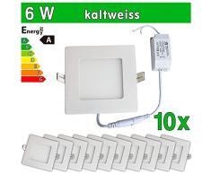 LEDVero 10x Ultraslim LED Panel SMD 2835, 6 W, eckig Deckenleuchte Lampe Einbau Leuchte Licht Strahler, kaltweiß SP152