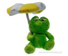 Niermann Standby LED Plüsch-Nachtlicht Frosch mit Farbwechsler im Sonnenschirm, Batteriebetrieb 80027
