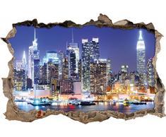 Pixxprint 3D_WD_1841_92x62 New York City Skyline Nacht Wanddurchbruch 3D Wandtattoo, Vinyl, bunt, 92 x 62 x 0,02 cm