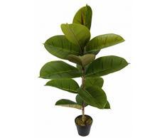 Flair Flower Kunstpflanze Gummibaum Kunstbaum Zimmerpflanze mit Blumentopf Dekopflanze Künstliche Büropflanze, Polyester/Kunststoff, Grün, 84 x 15 x 15 cm