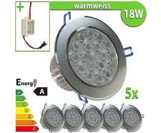LEDVero 5x LED Einbaustrahler Einbauleuchte 18 W rund, warmweiss EBL191