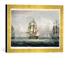 Gerahmtes Bild von Thomas Whitcombe HMS Victory sailing for the French line flanked by the Euryalus and HMS Temeraire at the Battle of Trafalgar, October 21st, 1805, Kunstdruck im hochwertigen handgefertigten Bilder-Rahmen, 40x30 cm, Gold raya