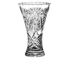 Crystaljulia 4002 Vase, Bleikristall, Schleudersternmuster, handgefertigt, 17 cm