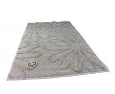 Gözze Badteppich, Mikrofaser Hochflorteppich, 70 x 120 cm, Blume, Sand, 1031-73-070120