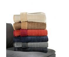 Ibena Fano Kuscheldecke 150x200 cm – Wohndecke wollweiß creme, tolle Wendedecke aus hochwertiger Baumwollmischung, kuschelweich und angenehm warm