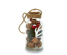 HEITMANN DECO Glasflasche mit Tannenzweigen, Zapfen und weißem Hirschgeweih - DIY Bastelsortiment im Glas - Dekoflasche Weihnachten Tischdeko