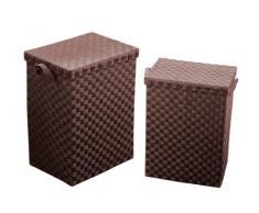 Premier Housewares Wäschekörbe aus geflochtenem Papier, mit Griffen, 2 Stück, braun