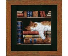 Vervaco Stickpackung Zählmuster Katze im Bücherregal Zählmusterpackung, Baumwolle, Mehrfarbig, 26.0 x 26.0 x 0.30000000000000004 cm, 1 Einheiten