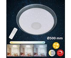 Briloner Leuchten LED Deckenleuchte mit Fernbedienung, Deckenlampe dimmbar, Farbtemperatursteuerung, 2200 Lumen, 24 Watt, Metall, W, Weiß-chrom, Ø50 cm