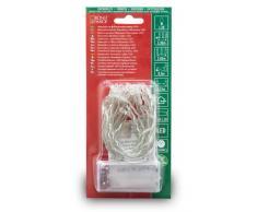Konstsmide 1408-343 LED Lichterkette / für Innen (IP20) / Batteriebetrieben: 2xAA 1.5V (exkl.) / mit Schalter und 6h Timer / 20 pinke Dioden / transparentes Kabel