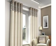 Just Contempo Moderner Ösenvorhang, Vorhang, gefüttert, 168x 229cm (46 x 90 Zoll), beige