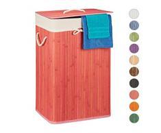 Relaxdays, pink Wäschekorb Bambus, mit Deckel, rechteckig, XL, 83 L, Faltbarer Wäschesammler, HBT: 65,5 x 43,5 x 33,5 cm