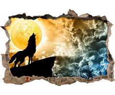 Pixxprint 3D_WD_S2771_62x42 heulender Wolf mit leuchtendem Mond Wanddurchbruch 3D Wandtattoo, Vinyl, bunt, 62 x 42 x 0,02 cm