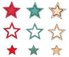 Rayher 46288000 Holz-Streudeko Stern, Stärke 6 mm, türkis, Holzstreuteile, Tischstreuer, Tischdeko, Streudeko Weihnachten, Btl. 42 Stück, 1 -2 cm ø, Farben natur, rot