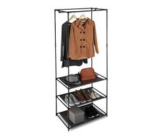 Relaxdays Kleiderständer mit Ablagen, offener Faltschrank m. Kleiderstange, Metall & Stoff, 179,5 x 72 x 48 cm, schwarz