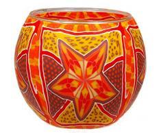 Himmlische Düfte Geschenkartikel CC222 Tischdekoration, Red Star Windlicht Glas 11 x 11 x 9 cm, bunt