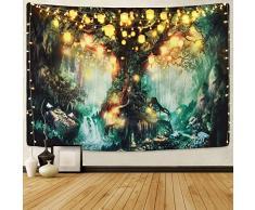 Sevenstars Wald-Märchen-Wandteppich, Laterne, Wandteppich, Wasserfälle unter dem Baum des Lebens, Psychedelischer Wald, Tapisserie, Fantasiebaum, für Zimmer (137,2 x 149,1 cm), Waldfee