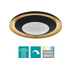 EGLO LED Deckenleuchte Canicosa 2, 2 flammige Wandlampe, Deckenlampe aus Schlagmetall, Kunststoff in schwarz, gold, mit Fernbedienung, Farbtemperaturwechsel (warm, neutral, kalt), Nachtlicht, dimmbar