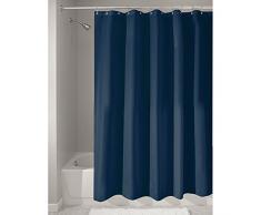 iDesign Duschvorhang aus Stoff, waschbarer Badewannenvorhang aus Polyester in der Größe 180,0 cm x 200,0 cm, wasserdichter Vorhang mit verstärktem Saum, blau